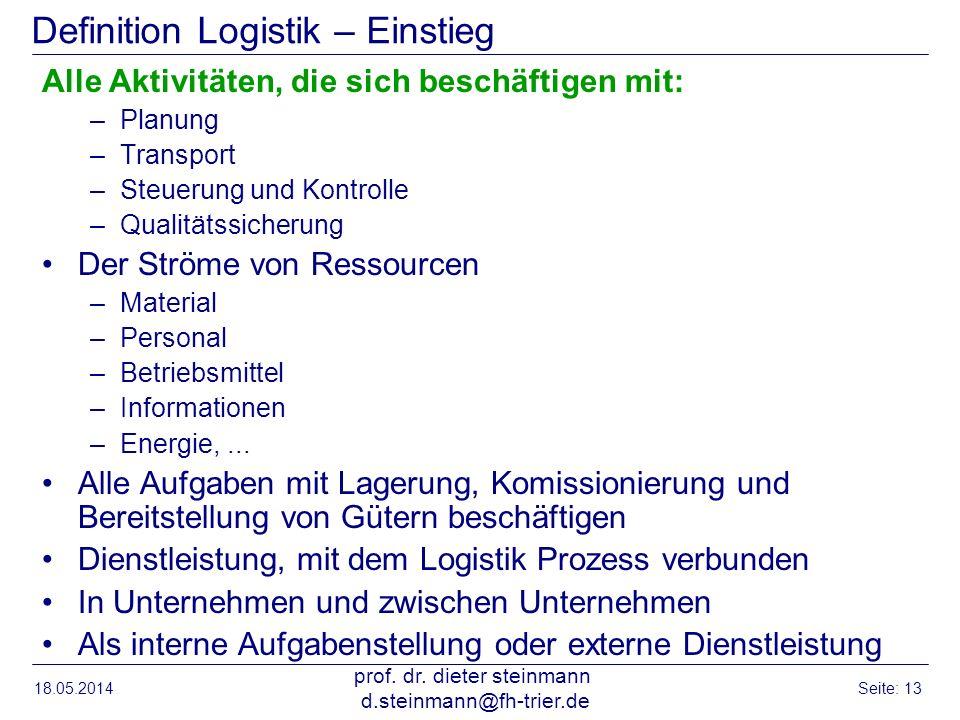 18.05.2014 prof. dr. dieter steinmann d.steinmann@fh-trier.de Seite: 13 Definition Logistik – Einstieg Alle Aktivitäten, die sich beschäftigen mit: –P