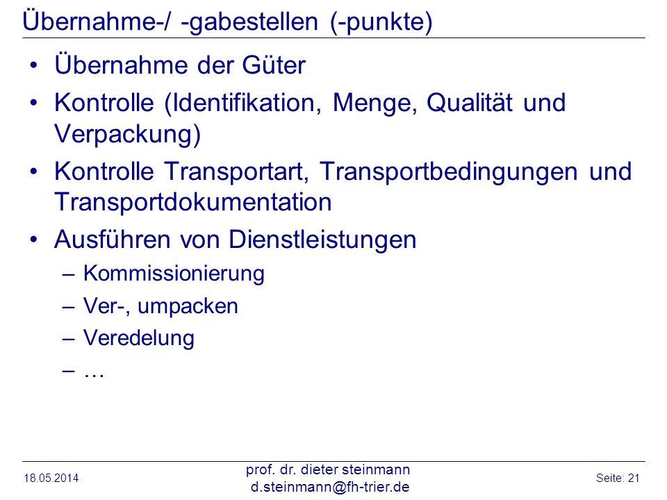 Übernahme-/ -gabestellen (-punkte) Übernahme der Güter Kontrolle (Identifikation, Menge, Qualität und Verpackung) Kontrolle Transportart, Transportbed