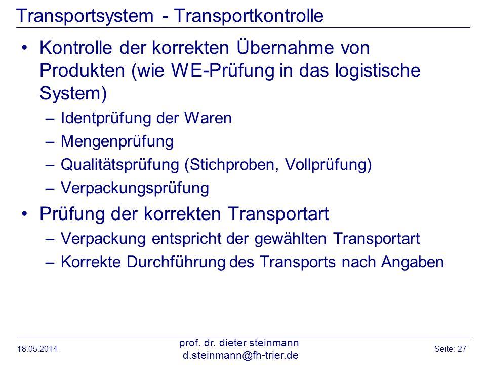 Transportsystem - Transportkontrolle Kontrolle der korrekten Übernahme von Produkten (wie WE-Prüfung in das logistische System) –Identprüfung der Ware
