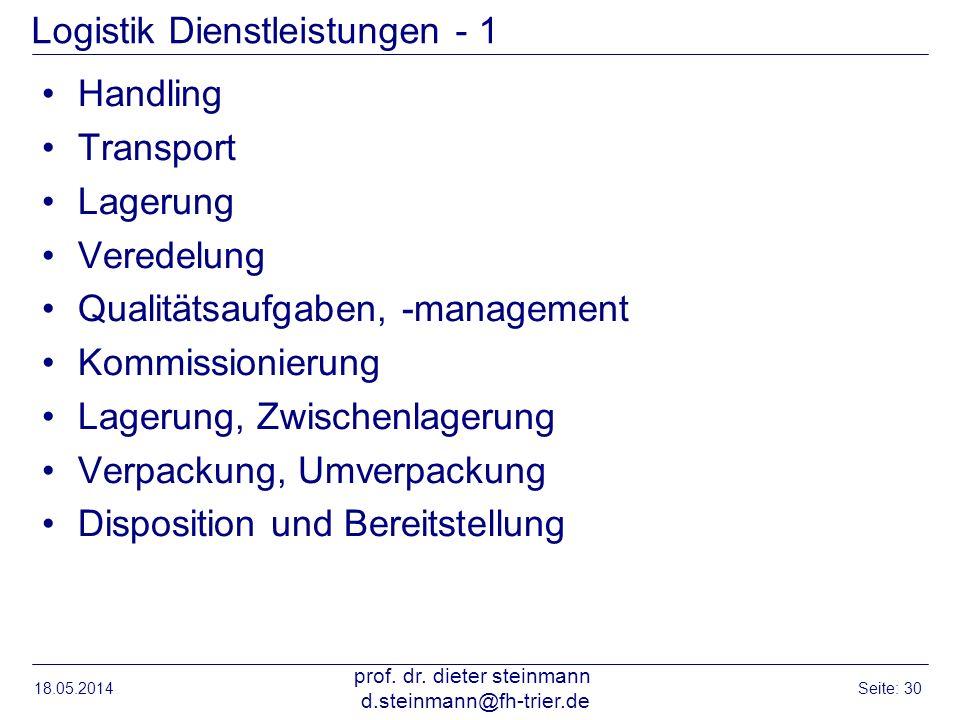 Logistik Dienstleistungen - 1 Handling Transport Lagerung Veredelung Qualitätsaufgaben, -management Kommissionierung Lagerung, Zwischenlagerung Verpac