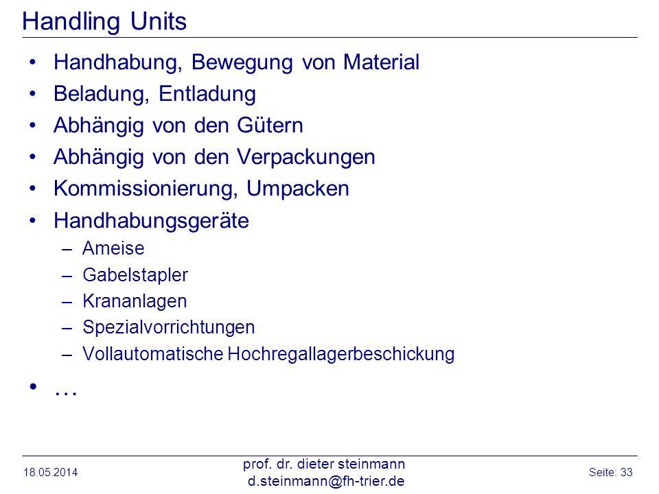 Handling Units Handhabung, Bewegung von Material Beladung, Entladung Abhängig von den Gütern Abhängig von den Verpackungen Kommissionierung, Umpacken