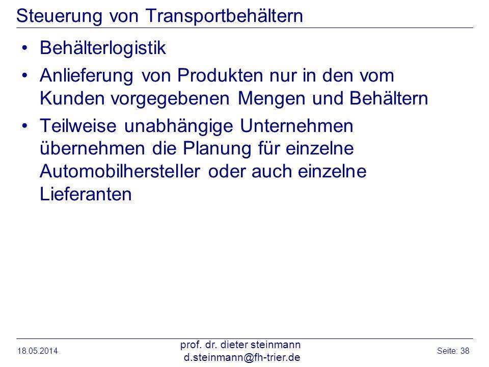 Steuerung von Transportbehältern Behälterlogistik Anlieferung von Produkten nur in den vom Kunden vorgegebenen Mengen und Behältern Teilweise unabhäng