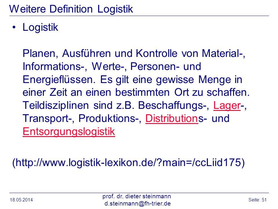 18.05.2014 prof. dr. dieter steinmann d.steinmann@fh-trier.de Seite: 51 Weitere Definition Logistik Logistik Planen, Ausführen und Kontrolle von Mater