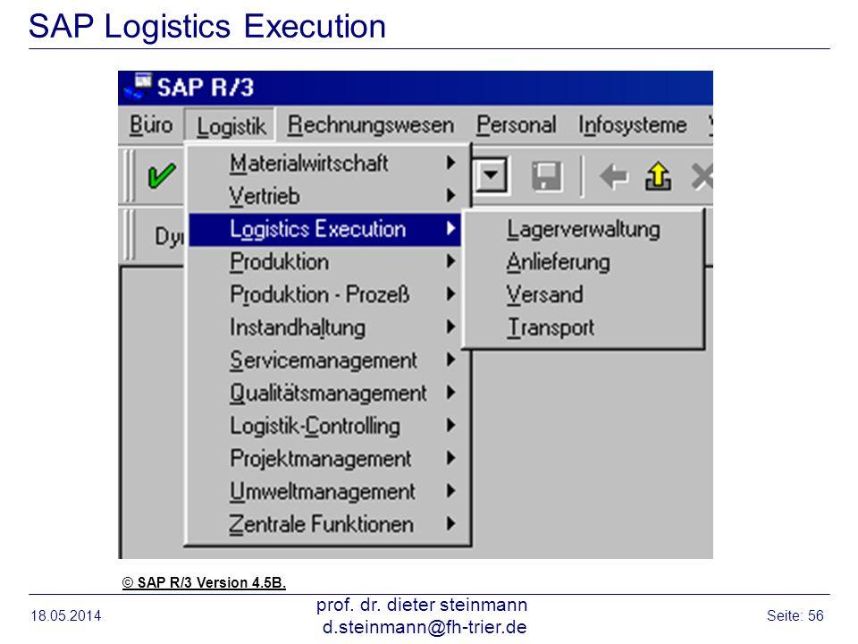 18.05.2014 prof. dr. dieter steinmann d.steinmann@fh-trier.de Seite: 56 SAP Logistics Execution © SAP R/3 Version 4.5B.