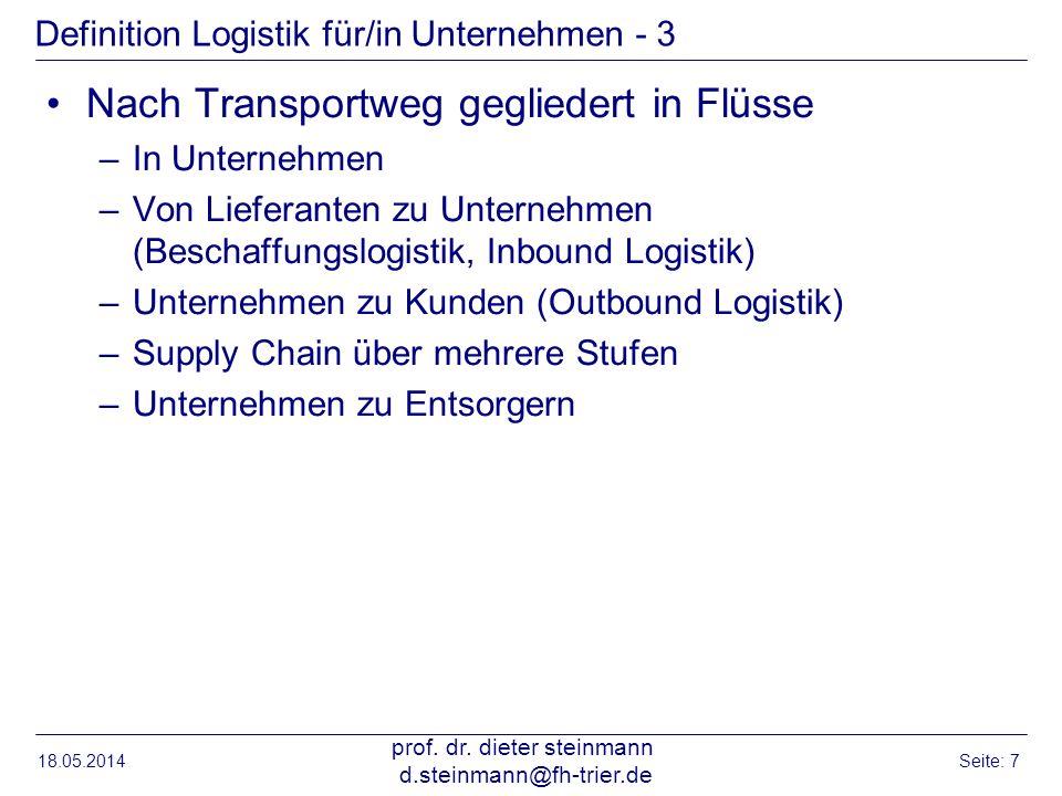 18.05.2014 prof. dr. dieter steinmann d.steinmann@fh-trier.de Seite: 7 Definition Logistik für/in Unternehmen - 3 Nach Transportweg gegliedert in Flüs