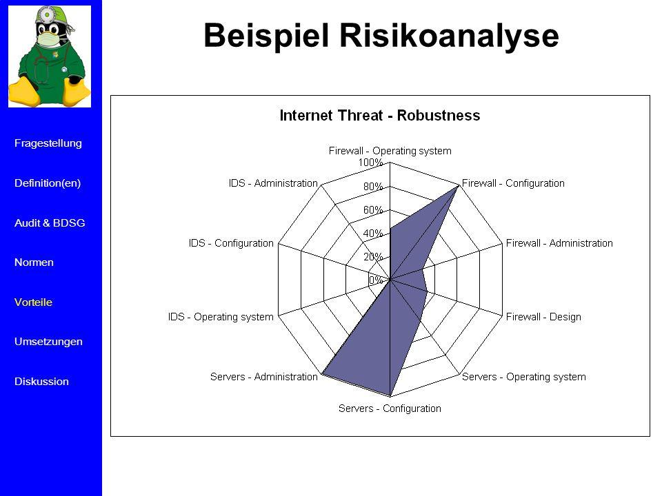 Beispiel Risikoanalyse Fragestellung Definition(en) Audit & BDSG Normen Vorteile Umsetzungen Diskussion