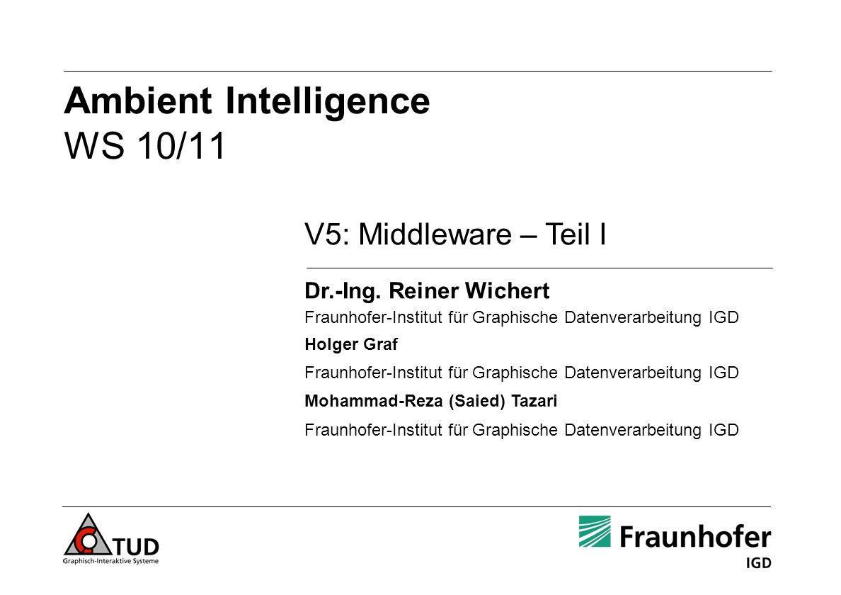 Ambient Intelligence WS 10/11 V5: Middleware – Teil I Dr.-Ing. Reiner Wichert Fraunhofer-Institut für Graphische Datenverarbeitung IGD Holger Graf Fra