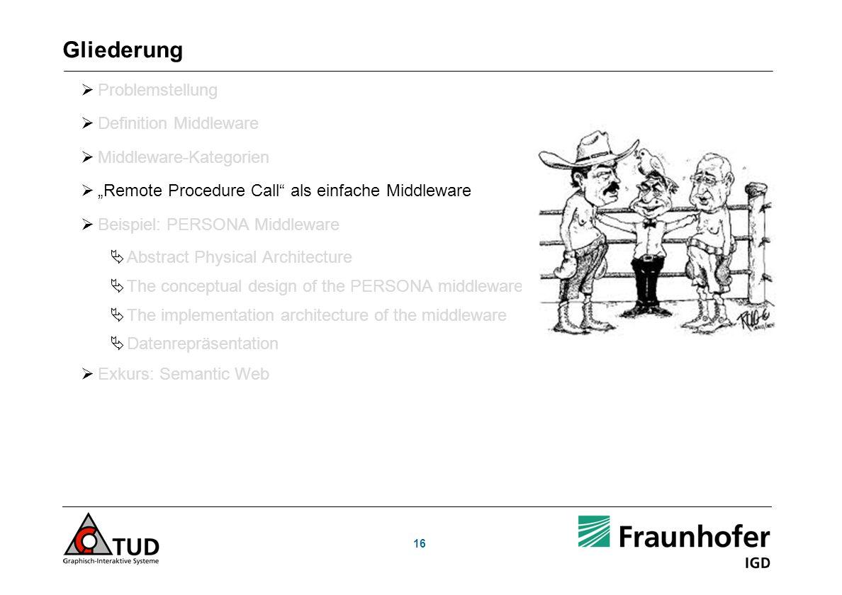 16 Gliederung Problemstellung Definition Middleware Middleware-Kategorien Remote Procedure Call als einfache Middleware Beispiel: PERSONA Middleware A