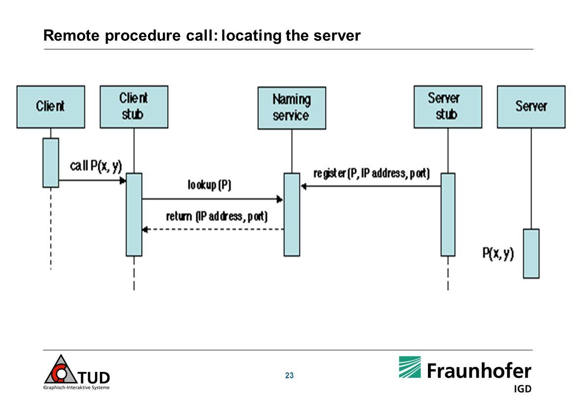Remote procedure call: locating the server 23