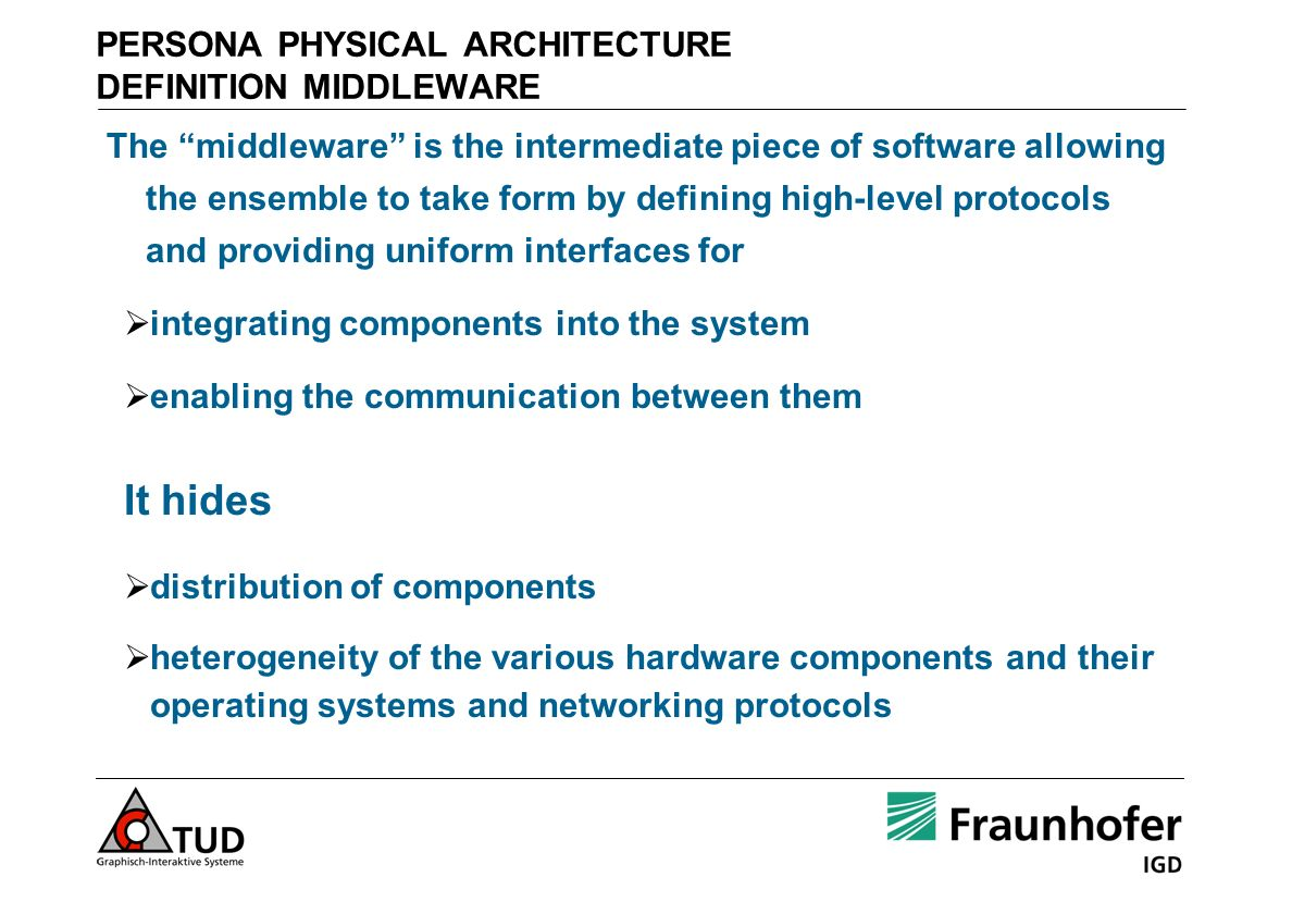PERSONA PHYSICAL ARCHITECTURE DEFINITION MIDDLEWARE The middleware is the intermediate piece of software allowing the ensemble to take form by definin