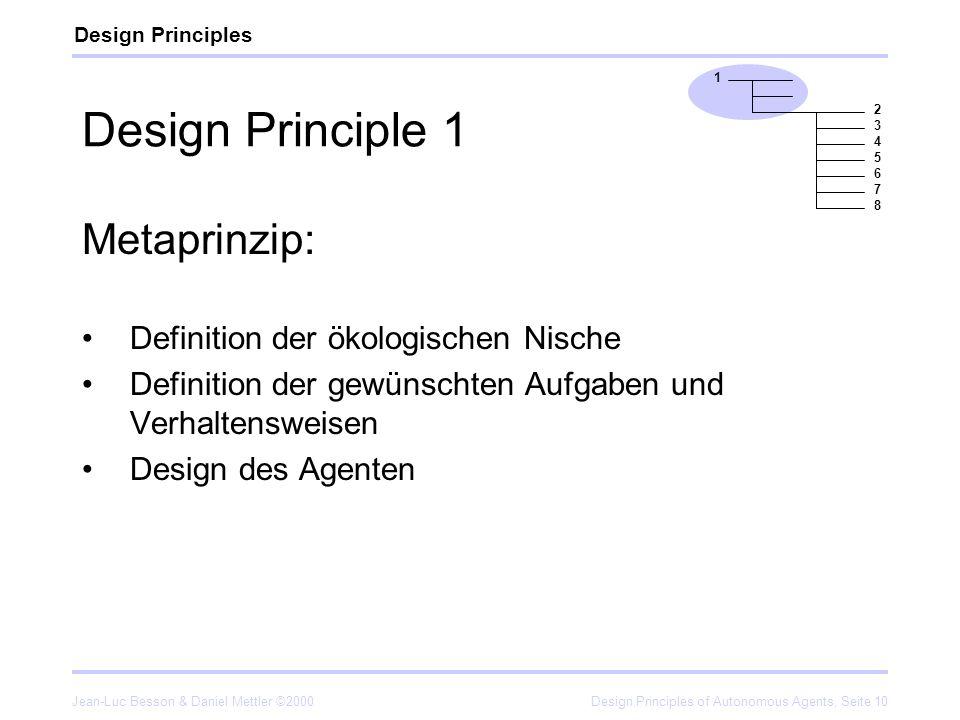 Jean-Luc Besson & Daniel Mettler ©2000Design Principles of Autonomous Agents, Seite 10 Design Principle 1 Metaprinzip: Definition der ökologischen Nis