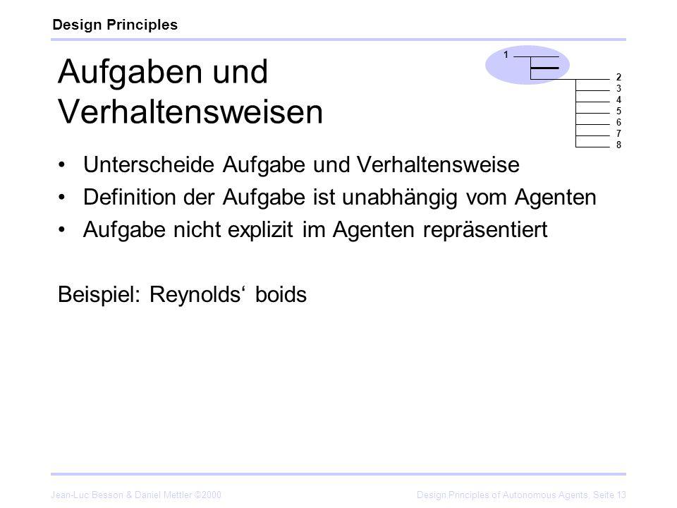 Jean-Luc Besson & Daniel Mettler ©2000Design Principles of Autonomous Agents, Seite 13 Aufgaben und Verhaltensweisen Unterscheide Aufgabe und Verhalte