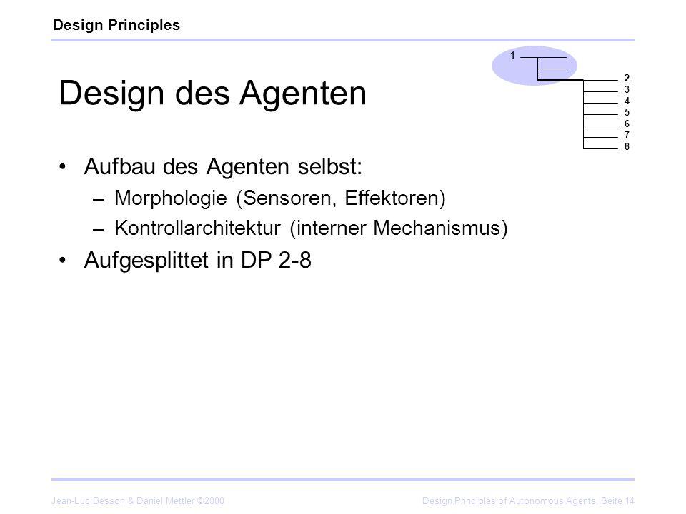 Jean-Luc Besson & Daniel Mettler ©2000Design Principles of Autonomous Agents, Seite 14 Design des Agenten Aufbau des Agenten selbst: –Morphologie (Sen