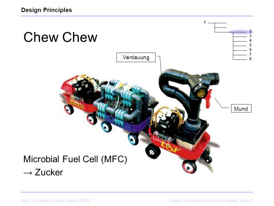 Jean-Luc Besson & Daniel Mettler ©2000Design Principles of Autonomous Agents, Seite 17 Chew Microbial Fuel Cell (MFC) Zucker Design Principles 1 2 3 4
