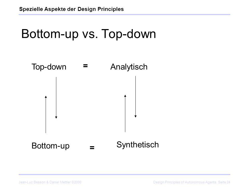 Jean-Luc Besson & Daniel Mettler ©2000Design Principles of Autonomous Agents, Seite 24 Bottom-up vs. Top-down Spezielle Aspekte der Design Principles