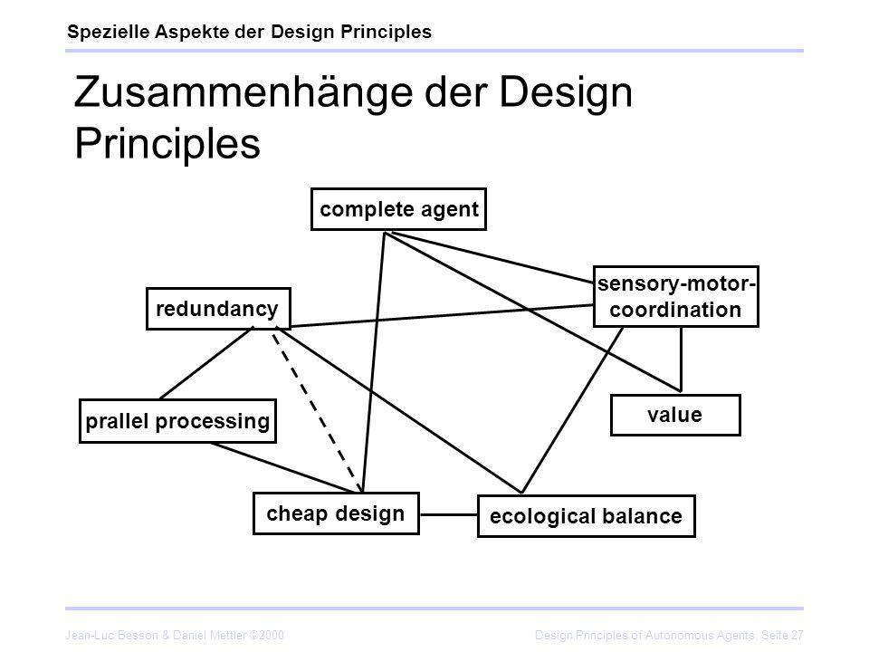 Jean-Luc Besson & Daniel Mettler ©2000Design Principles of Autonomous Agents, Seite 27 Zusammenhänge der Design Principles Spezielle Aspekte der Desig