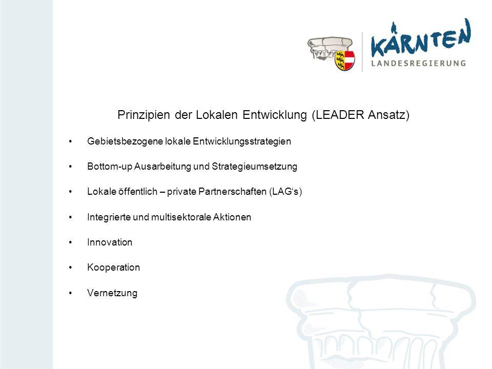 Prinzipien der Lokalen Entwicklung (LEADER Ansatz) Gebietsbezogene lokale Entwicklungsstrategien Bottom-up Ausarbeitung und Strategieumsetzung Lokale öffentlich – private Partnerschaften (LAGs) Integrierte und multisektorale Aktionen Innovation Kooperation Vernetzung