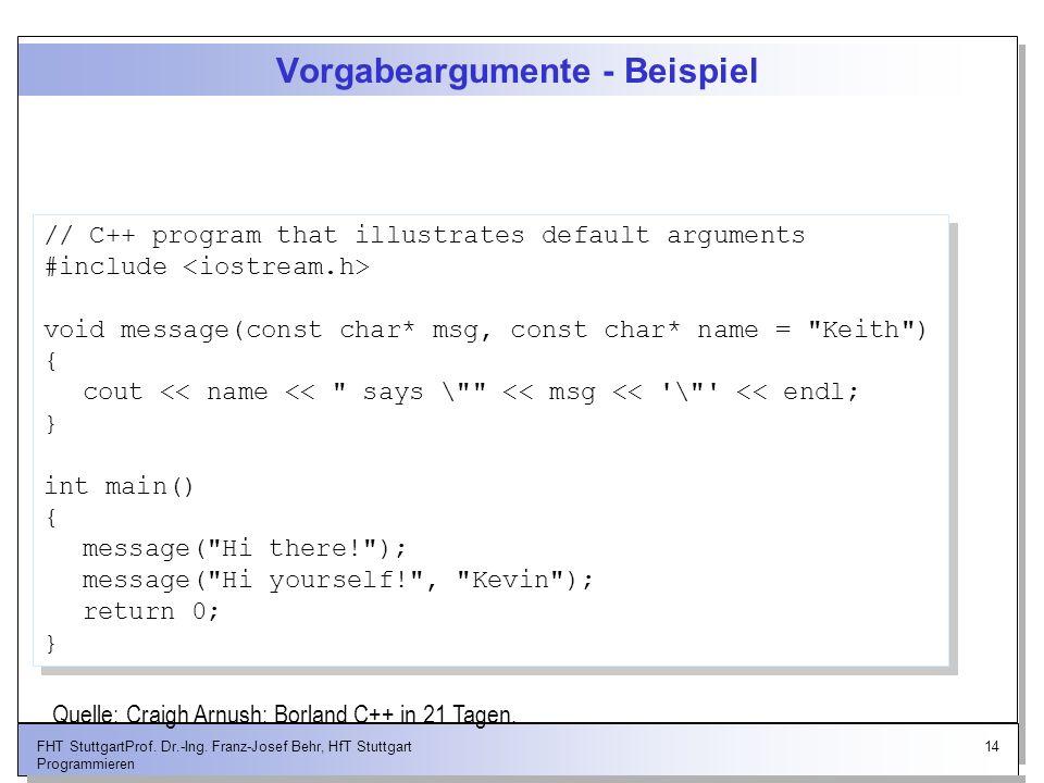 14FHT StuttgartProf. Dr.-Ing. Franz-Josef Behr, HfT Stuttgart Programmieren Vorgabeargumente - Beispiel // C++ program that illustrates default argume
