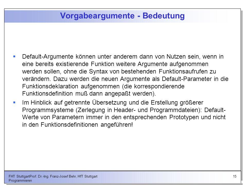 15FHT StuttgartProf. Dr.-Ing. Franz-Josef Behr, HfT Stuttgart Programmieren Vorgabeargumente - Bedeutung Default-Argumente können unter anderem dann v