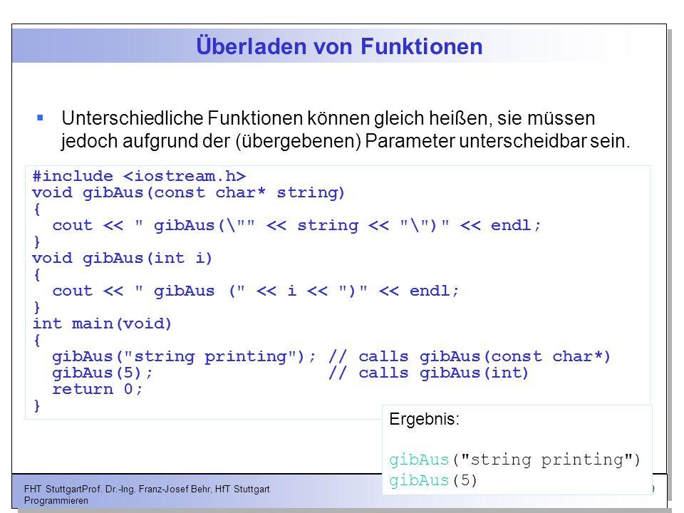 19FHT StuttgartProf. Dr.-Ing. Franz-Josef Behr, HfT Stuttgart Programmieren Überladen von Funktionen Unterschiedliche Funktionen können gleich heißen,