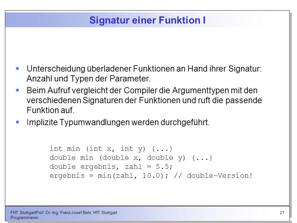 21FHT StuttgartProf. Dr.-Ing. Franz-Josef Behr, HfT Stuttgart Programmieren Signatur einer Funktion I Unterscheidung überladener Funktionen an Hand ih