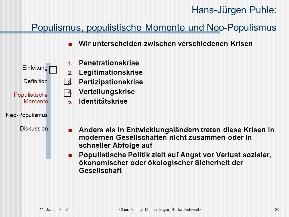 Hans-Jürgen Puhle: Populismus, populistische Momente und Neo-Populismus 11. Januar 2007Claus Hensel, Marius Meyer, Stefan Schwiertz20 Einleitung Defin