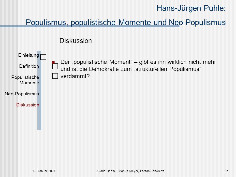 Hans-Jürgen Puhle: Populismus, populistische Momente und Neo-Populismus 11. Januar 2007Claus Hensel, Marius Meyer, Stefan Schwiertz35 Einleitung Defin