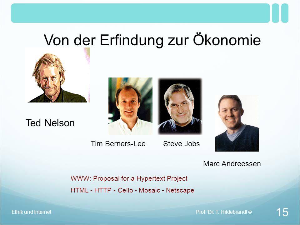 Marc Andreessen & Eric Bina Entwicklung des Browsers Mosaic (noch ohne Andreessen) Vermarktung des Browsers Netscape (mit A.) Internet Web Geschichte 14 Prof.