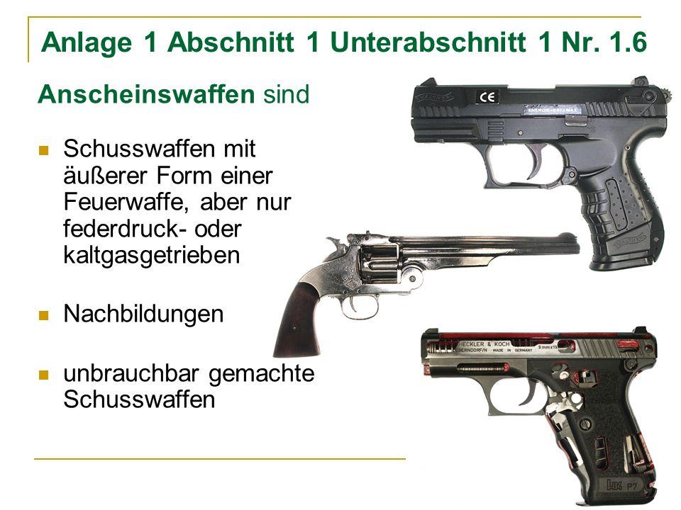 Anlage 1 Abschnitt 1 Unterabschnitt 1 Nr. 1.6 Anscheinswaffen sind Schusswaffen mit äußerer Form einer Feuerwaffe, aber nur federdruck- oder kaltgasge