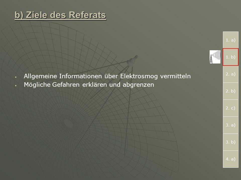 b) Ziele des Referats Allgemeine Informationen über Elektrosmog vermitteln Mögliche Gefahren erklären und abgrenzen 1.