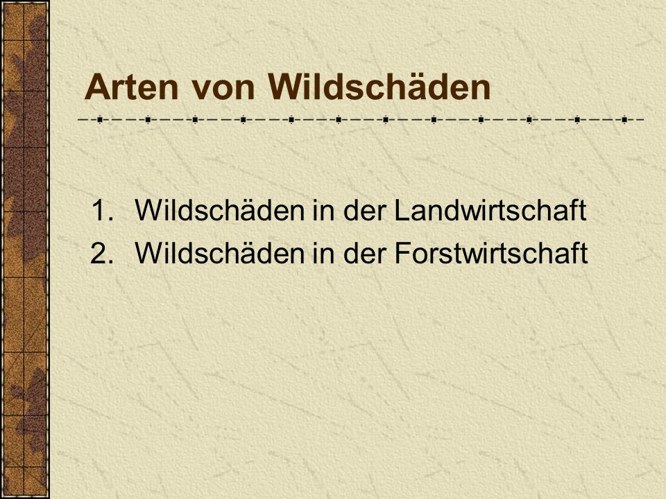 Arten von Wildschäden 1.Wildschäden in der Landwirtschaft 2.Wildschäden in der Forstwirtschaft