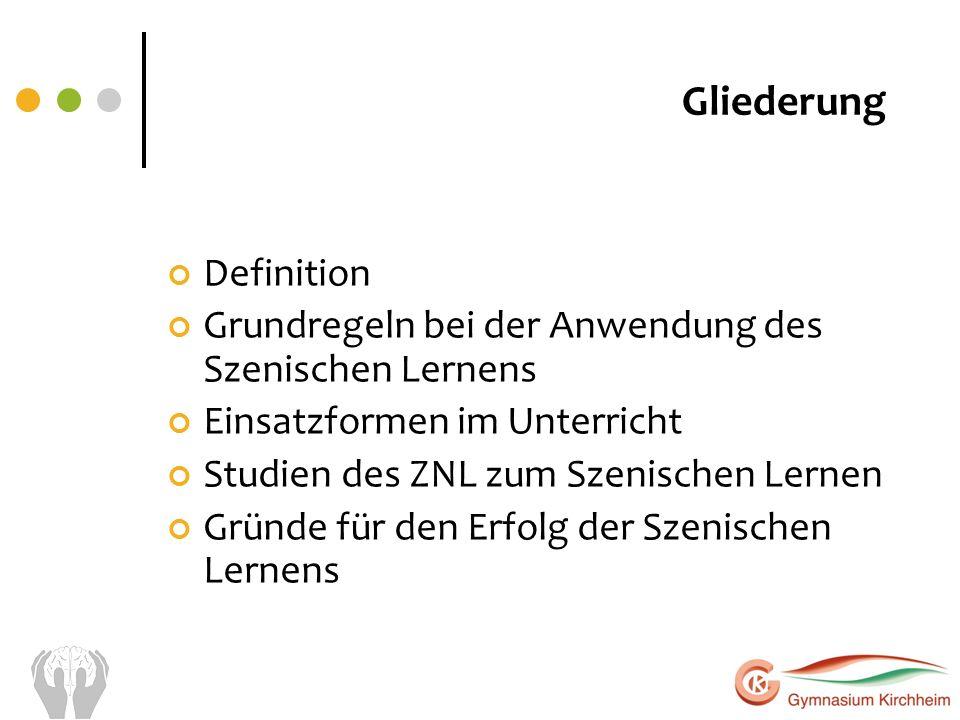 Gliederung Definition Grundregeln bei der Anwendung des Szenischen Lernens Einsatzformen im Unterricht Studien des ZNL zum Szenischen Lernen Gründe fü
