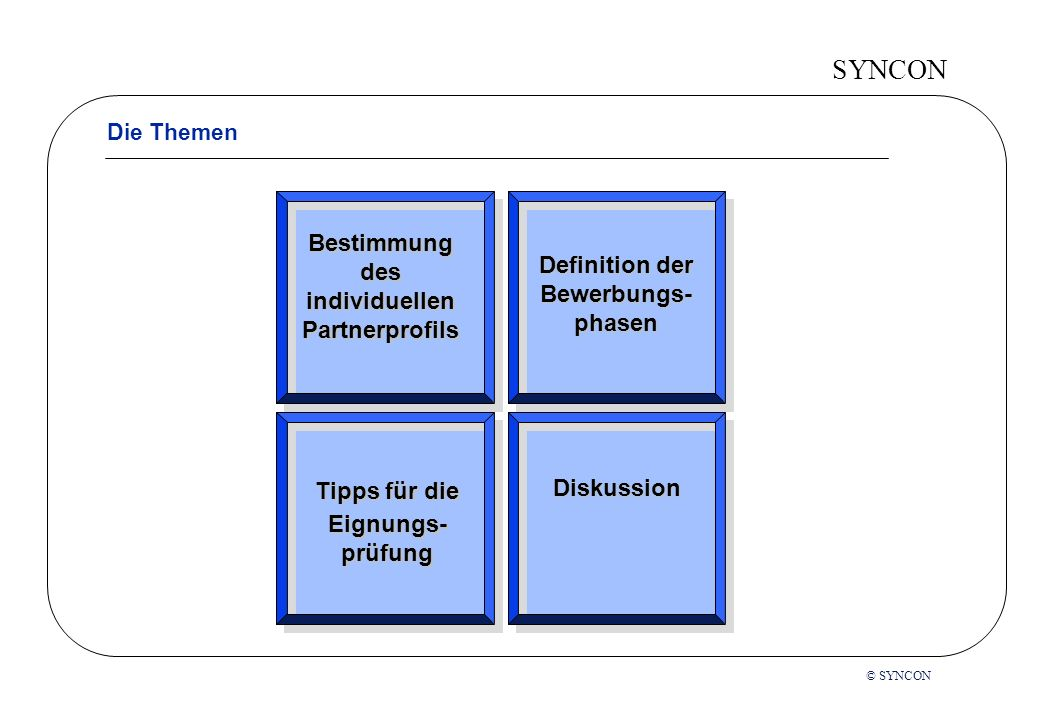 SYNCON Die Themen Bestimmung des individuellen Partnerprofils Tipps für die Eignungs- prüfung Definition der Bewerbungs- phasen Diskussion © SYNCON