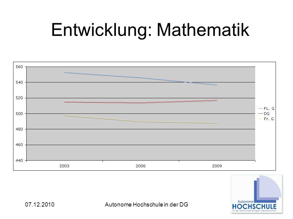 07.12.2010Autonome Hochschule in der DG Entwicklung: Mathematik