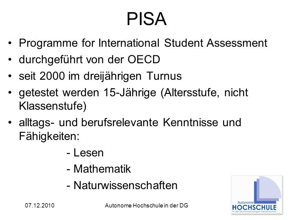 07.12.2010Autonome Hochschule in der DG PISA Fakten 74 teilnehmende Länder ca.