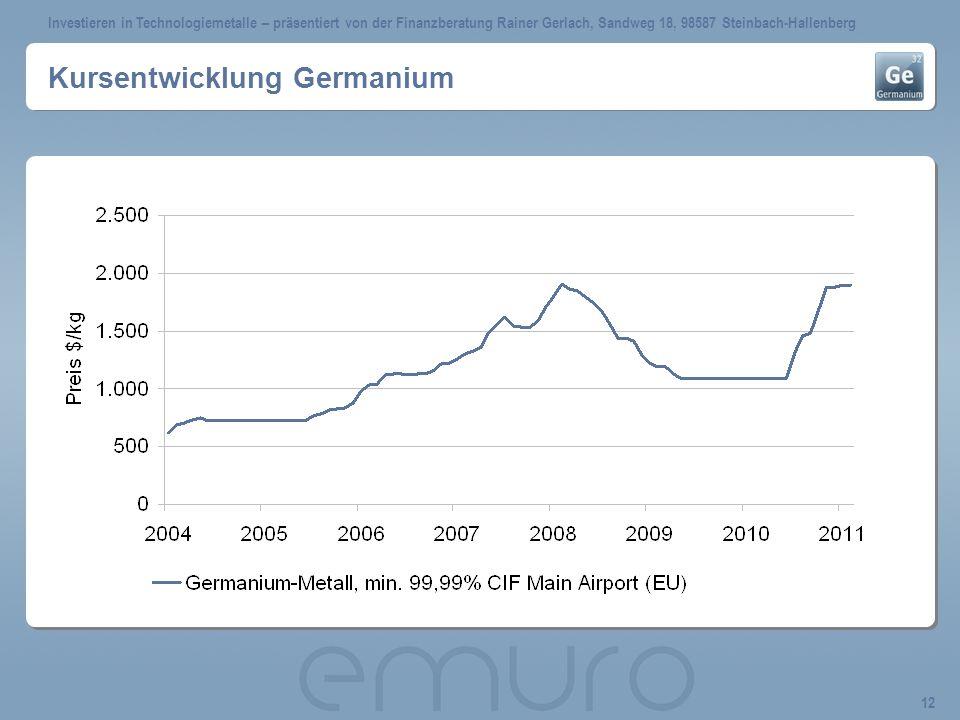Investieren in Technologiemetalle – präsentiert von der Finanzberatung Rainer Gerlach, Sandweg 18, 98587 Steinbach-Hallenberg 12 Kursentwicklung Germa