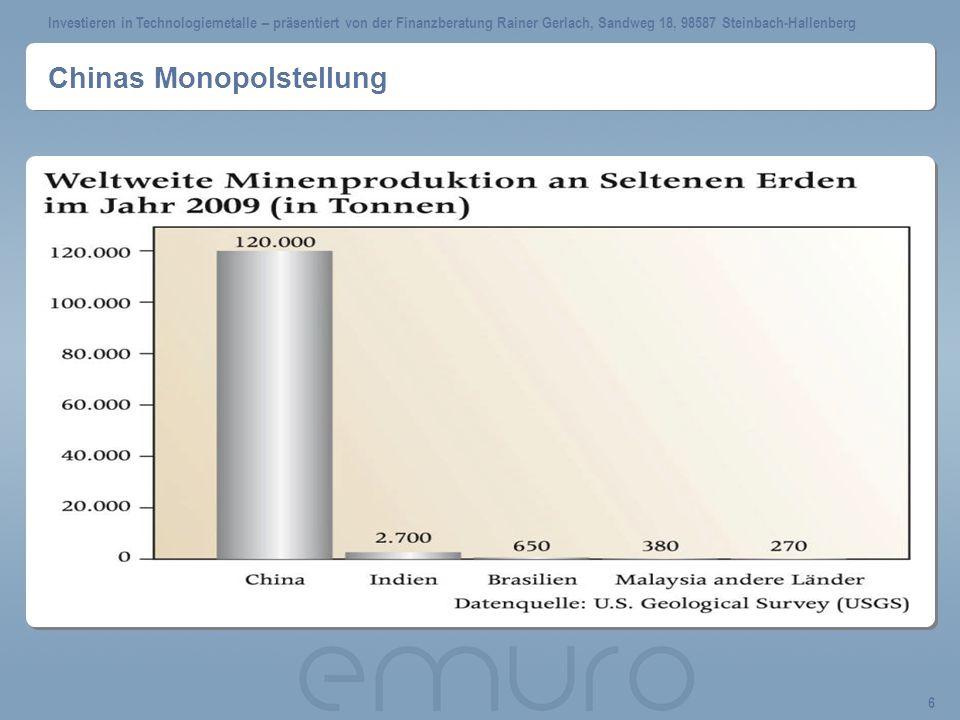 Investieren in Technologiemetalle – präsentiert von der Finanzberatung Rainer Gerlach, Sandweg 18, 98587 Steinbach-Hallenberg 17 Warum gibt es keine börsennotieren Preise.