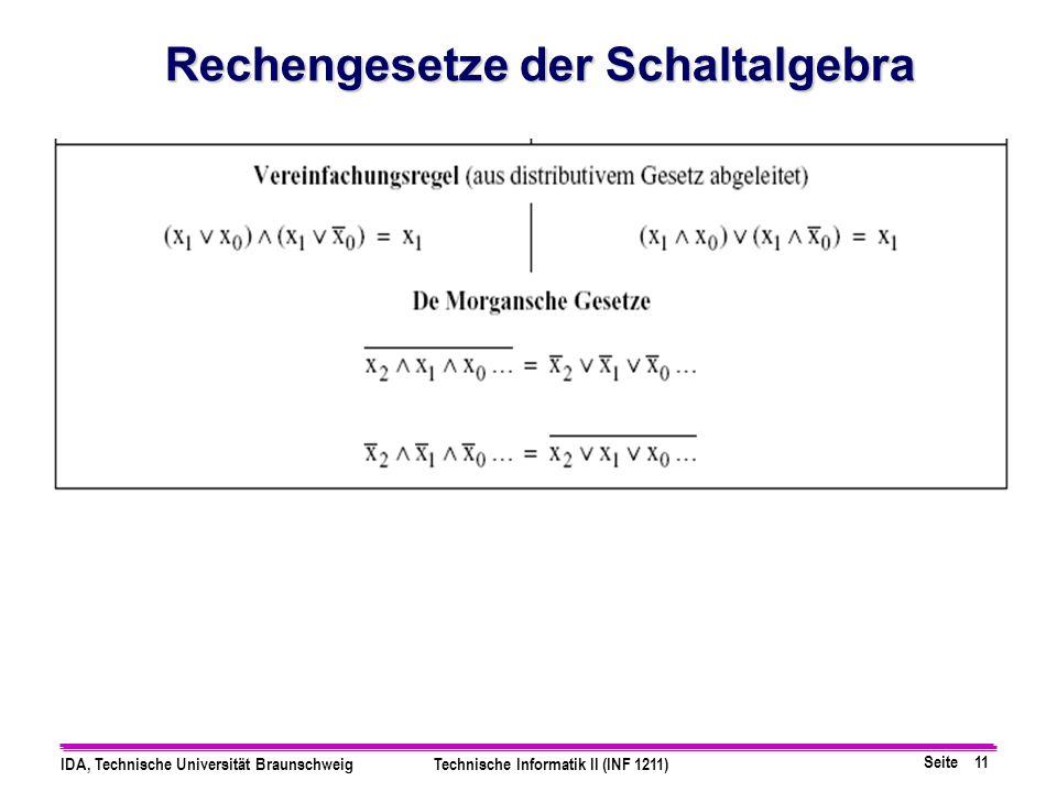 Seite 11 IDA, Technische Universität BraunschweigTechnische Informatik II (INF 1211) Rechengesetze der Schaltalgebra