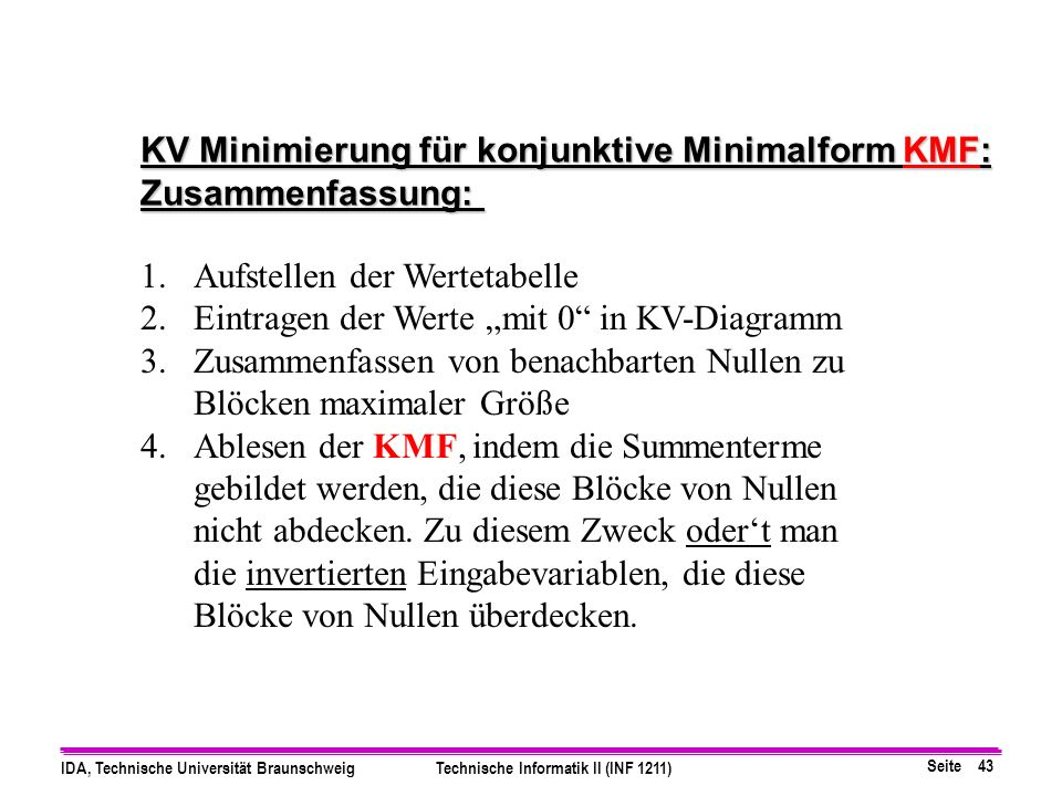 Seite 43 IDA, Technische Universität BraunschweigTechnische Informatik II (INF 1211) 1.Aufstellen der Wertetabelle 2.Eintragen der Werte mit 0 in KV-Diagramm 3.Zusammenfassen von benachbarten Nullen zu Blöcken maximaler Größe 4.Ablesen der KMF, indem die Summenterme gebildet werden, die diese Blöcke von Nullen nicht abdecken.