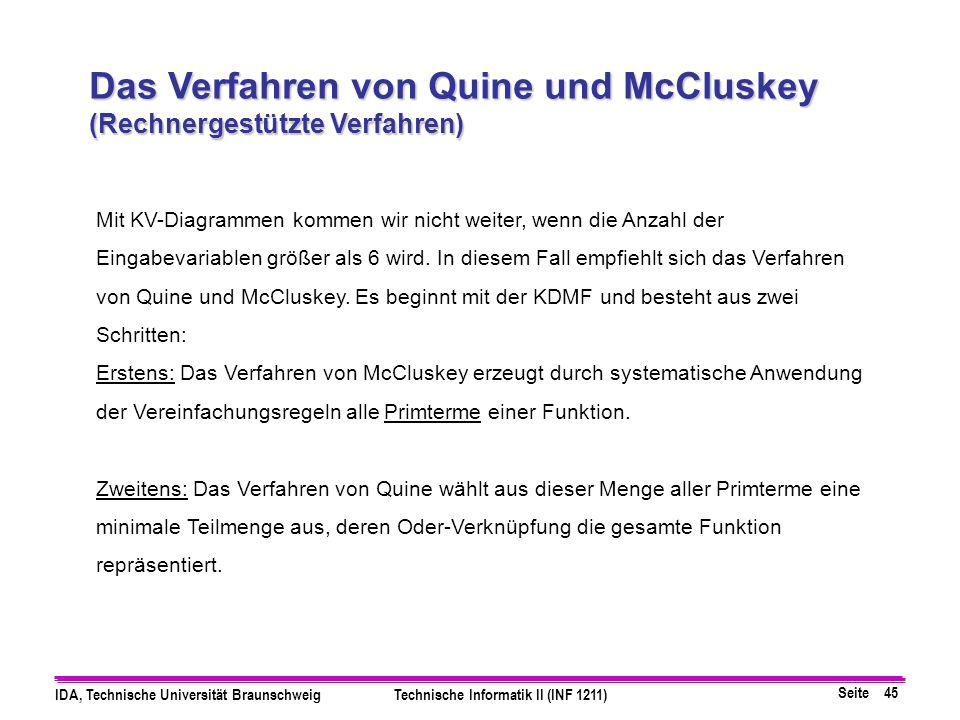 Seite 45 IDA, Technische Universität BraunschweigTechnische Informatik II (INF 1211) Das Verfahren von Quine und McCluskey (Rechnergestützte Verfahren) Mit KV-Diagrammen kommen wir nicht weiter, wenn die Anzahl der Eingabevariablen größer als 6 wird.