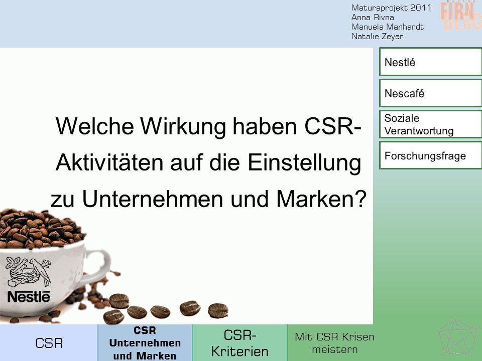 Maturaprojekt 2011 Anna Rivna Manuela Manhardt Natalie Zeyer Welche Wirkung haben CSR- Aktivitäten auf die Einstellung zu Unternehmen und Marken.
