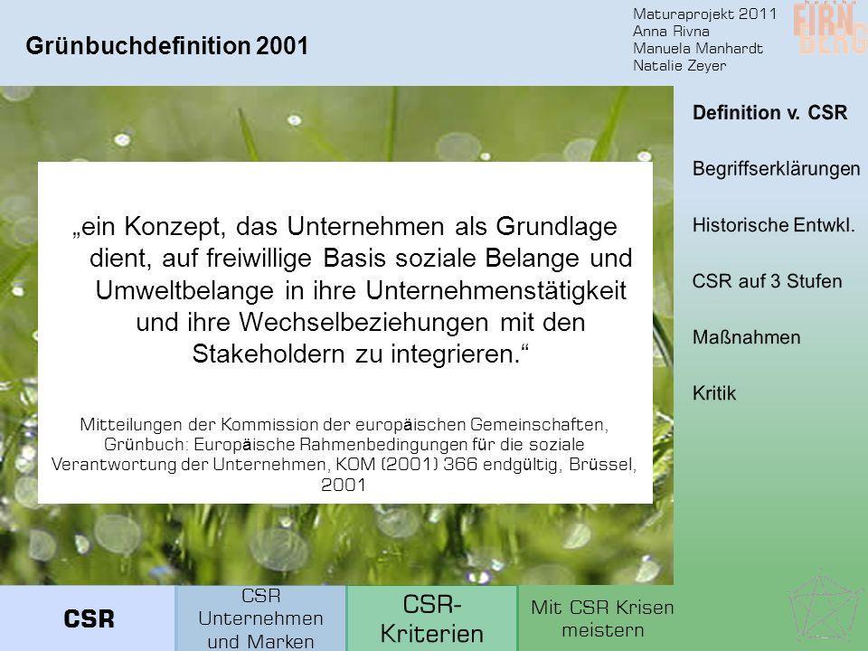 Maturaprojekt 2011 Anna Rivna Manuela Manhardt Natalie Zeyer Grünbuchdefinition 2001 ein Konzept, das Unternehmen als Grundlage dient, auf freiwillige Basis soziale Belange und Umweltbelange in ihre Unternehmenstätigkeit und ihre Wechselbeziehungen mit den Stakeholdern zu integrieren.