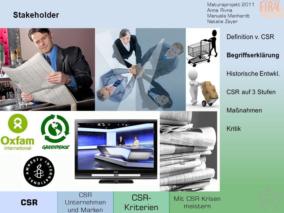 Maturaprojekt 2011 Anna Rivna Manuela Manhardt Natalie Zeyer Stakeholder CSR Unternehmen und Marken Mit CSR Krisen meistern