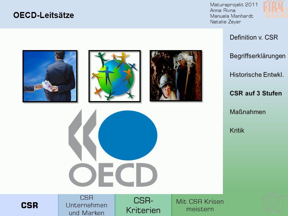 Maturaprojekt 2011 Anna Rivna Manuela Manhardt Natalie Zeyer OECD-Leitsätze CSR Unternehmen und Marken Mit CSR Krisen meistern