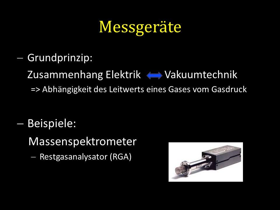 Messgeräte Grundprinzip: Zusammenhang Elektrik Vakuumtechnik => Abhängigkeit des Leitwerts eines Gases vom Gasdruck Beispiele: Massenspektrometer Rest