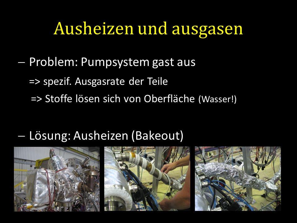 Ausheizen und ausgasen Problem: Pumpsystem gast aus => spezif. Ausgasrate der Teile => Stoffe lösen sich von Oberfläche (Wasser!) Lösung: Ausheizen (B