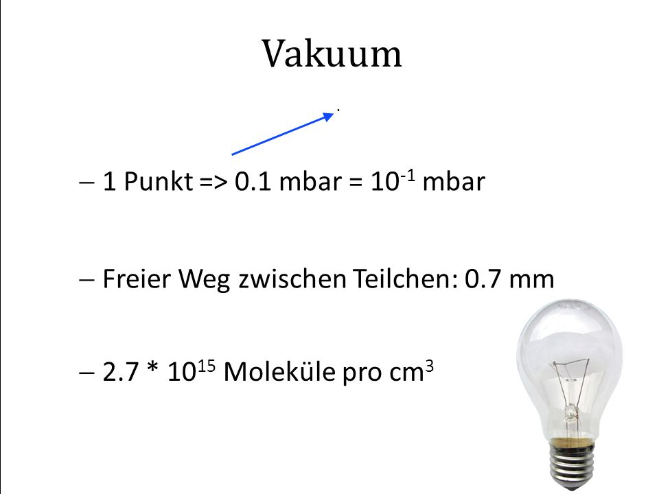 VDI 29.02.2008G. Schneider AT/VAC Vakuum. 1 Punkt => 0.1 mbar = 10 -1 mbar Freier Weg zwischen Teilchen: 0.7 mm 2.7 * 10 15 Moleküle pro cm 3