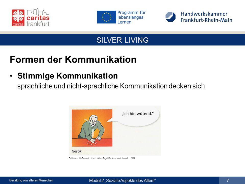 SILVER LIVING Modul 2 Soziale Aspekte des Alters 8 Beratung von älteren Menschen Das Sender-Empfänger-Modell Grundmodell der Kommunikation Berkefeld, Th./Frie, G., Gesundheit und Pflege, 2008