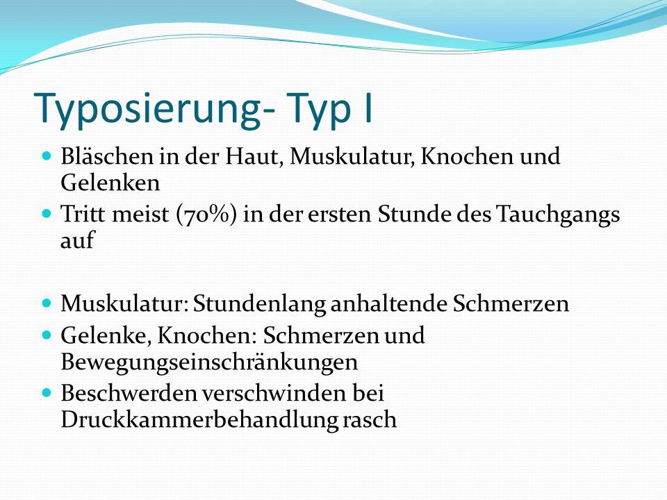 Typosierung- Typ I Bläschen in der Haut, Muskulatur, Knochen und Gelenken Tritt meist (70%) in der ersten Stunde des Tauchgangs auf Muskulatur: Stunde