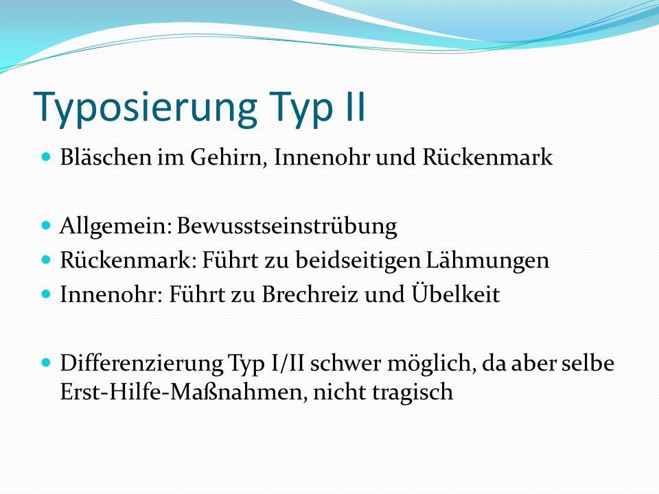 Typosierung Typ II Bläschen im Gehirn, Innenohr und Rückenmark Allgemein: Bewusstseinstrübung Rückenmark: Führt zu beidseitigen Lähmungen Innenohr: Fü